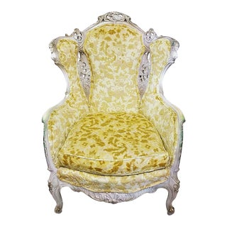 Antique French Louis XV Rococo Hand Carved Velvet Wingback Chair For Sale