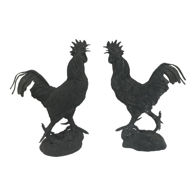 Vintage Iron Rooster Garden Ornaments - A Pair - Image 1 of 8