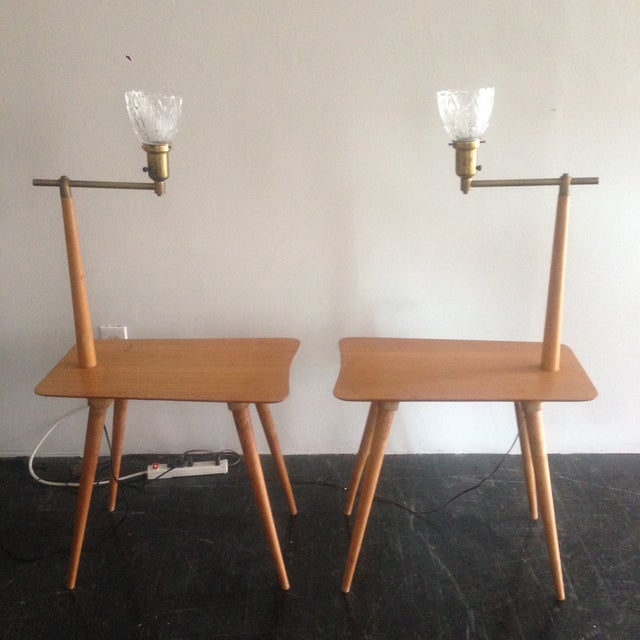 Mid-Century Maple Side Table Floor Lamps - A Pair - Image 5 of 11