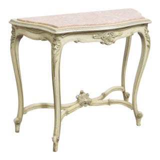 Louis XV Marble Top Painted Console Table For Sale