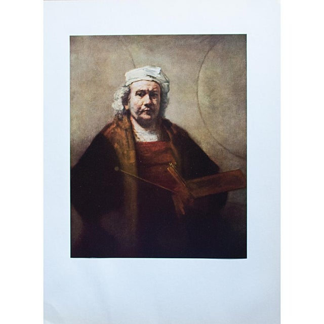 "Coffee 1950s Rembrandt, ""Self-Portrait"" Vintage Photogravure For Sale - Image 8 of 8"