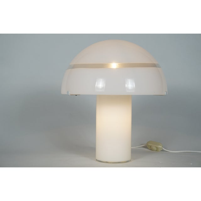 Mid-Century Modern Modern White Murano Glass Mushroom Lamp Illuminated From Within For Sale - Image 3 of 8