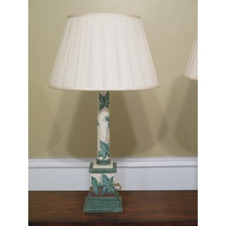 Green Leaf Decorator Wood Table Lamps with Shades - a Pair Preview