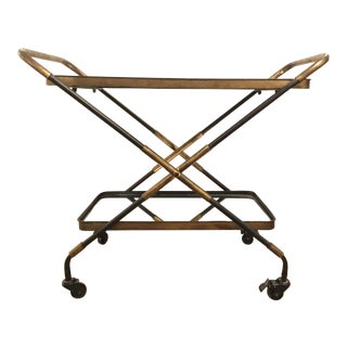 Mod Style Metal and Mirror Bar Cart For Sale