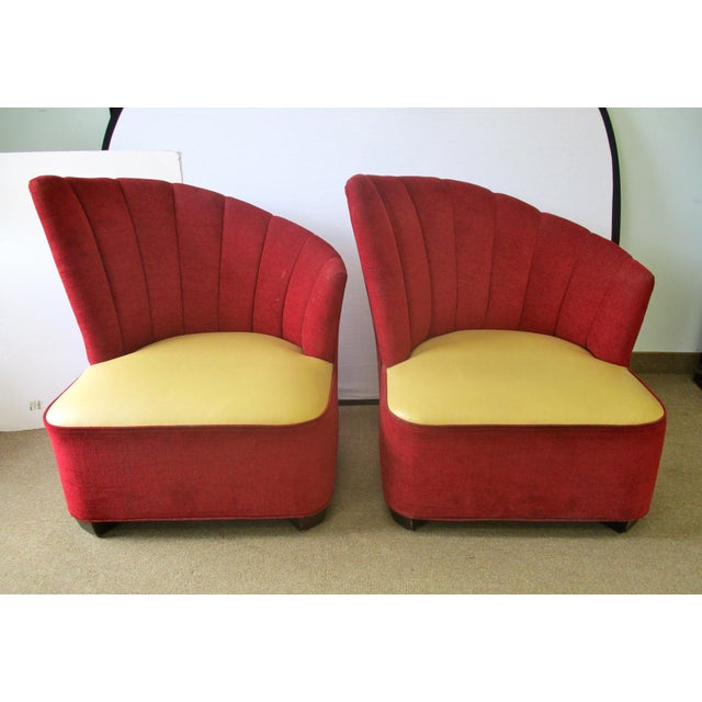 "Pair of mid-century modern channel back chairs with red chenille upholstery and a leather seat. Seat 15""H. Stains and wear..."