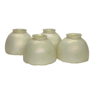 1910s Steuben White With Iridescent Finish Shades - Set of 4 For Sale
