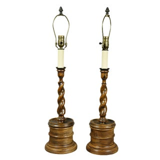 Pair of Edwardian Oak Candlestick Lamps For Sale