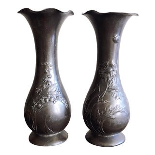 "Antique Kayserzinn Art Nouveau Pewter Vases ""4077"" - a Pair For Sale"