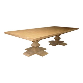 Custom Table With Two Stacked Pyramid Pedestals in Cerused Oak For Sale