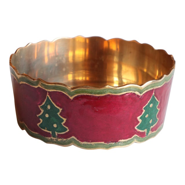 Enameled Brass Christmas Tree Champagne Coaster For Sale