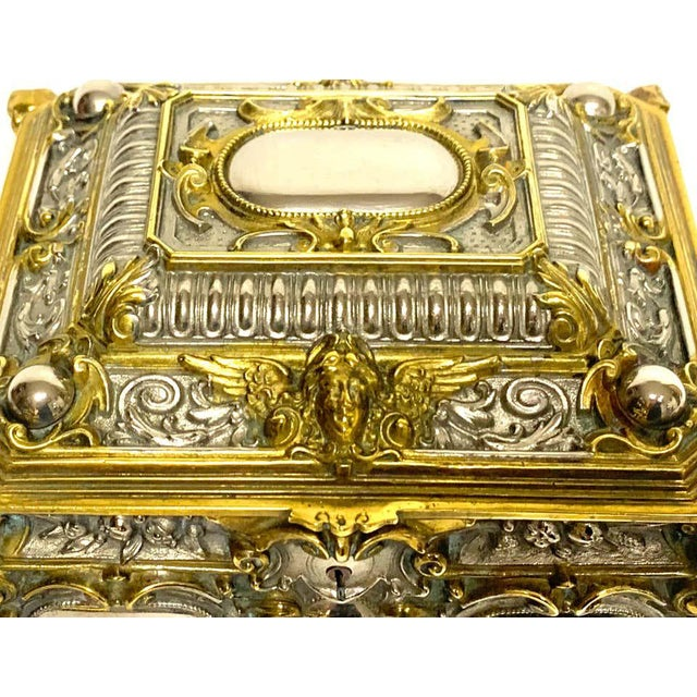 Silvered Bronze and Ormolu Jewelry/Table Box For Sale In West Palm - Image 6 of 12