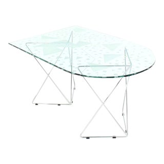 Mid-Century Modern Pattern Etched Top Art Glass Dining Table For Sale