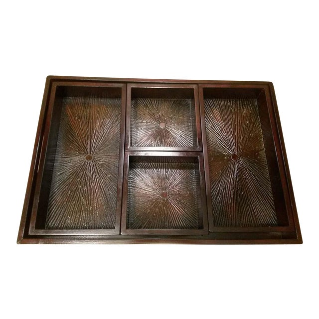 Wood Serving Tray & Bins - Image 1 of 6
