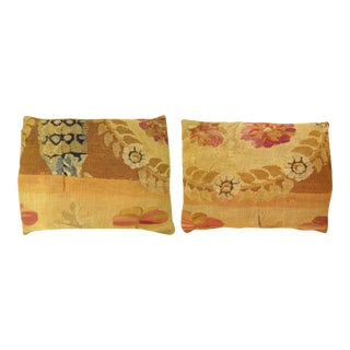 Decorative Antique Bessarabian Carpet Pillows With Floral Green Brocade Backing - a Pair For Sale
