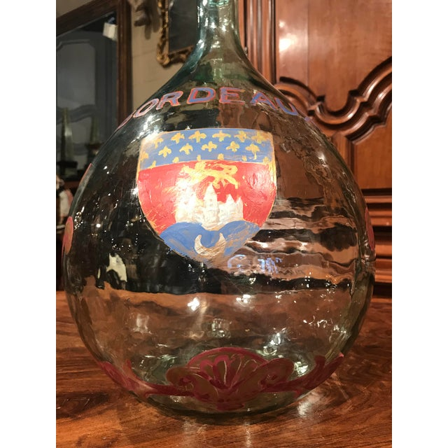 Large French Handblown Wine Bottle With Handpainted Coat of Arms of Bordeaux For Sale - Image 4 of 11