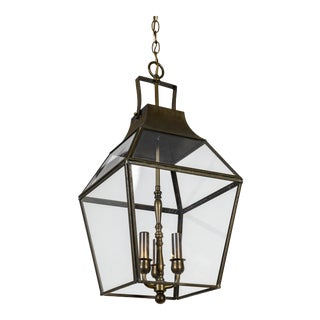 Vintage Geometric Brass Finished Lantern Pendant Light For Sale