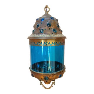 Blue Glass Lantern With Jewels