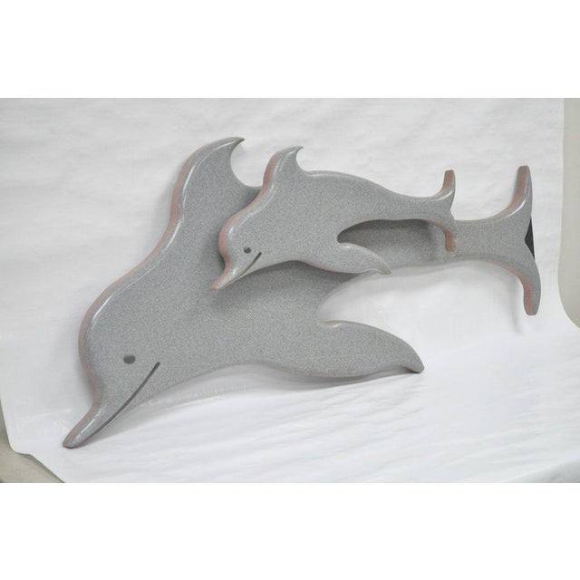 """Mid-Century Modern 48"""" Custom Made 3d Laminated Formica Mother Dolphin & Baby Pup Calf Sculpture For Sale - Image 3 of 11"""