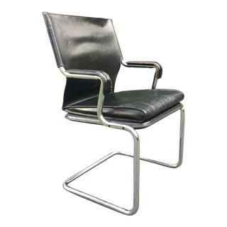 Cantilever Armchair in Chrome and Leather For Sale