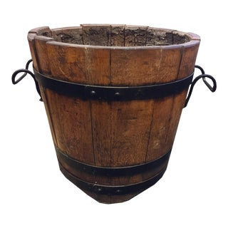 French Wooden Vessel With Iron Accents For Sale
