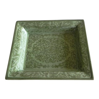 Tozai Home Dark Green/Light Green Ceramic Tray For Sale