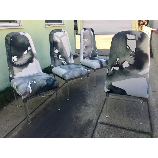 For sale is a set of 4 Vintage Charles Hollis Jones Chairs With Lucite Chrome Legs. Newly upholstered with modern ink blot...