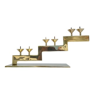 Sculptural Geometric Design Brass Candle Holder For Sale