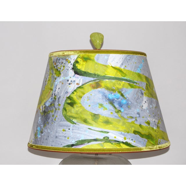 19th C Water Bottle Lamp W/ Hand Painted Lampshade - Image 3 of 6