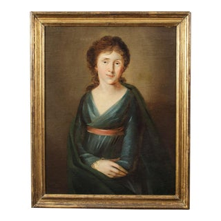 19th Century Oil on Canvas, Portrait of a Woman circa 1860 For Sale