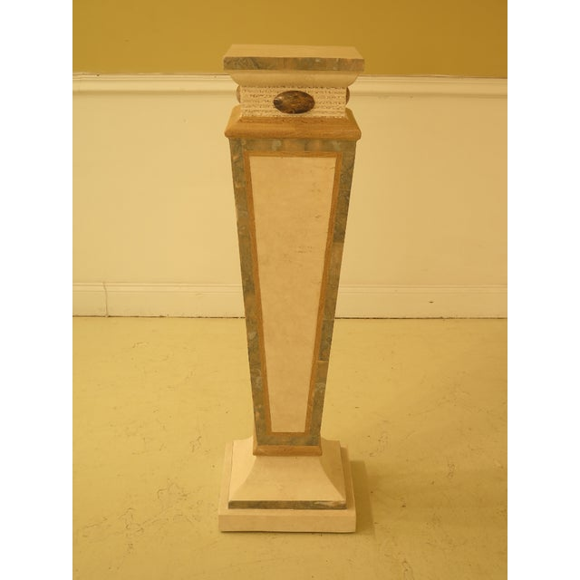 Yellow Modern Maitland Smith Style Marble Overlay Gueridon Pedestal For Sale - Image 8 of 8