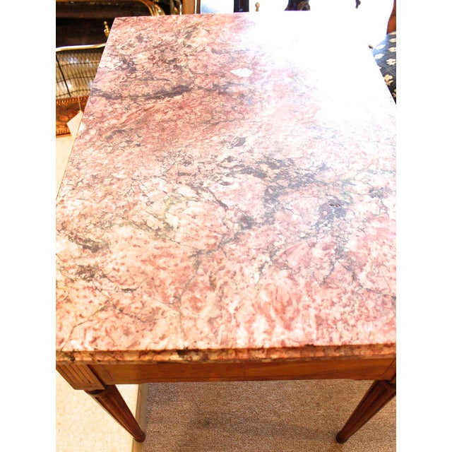 Marble 18th Century Italian Neoclassical Inlaid Marble Top Console For Sale - Image 7 of 10