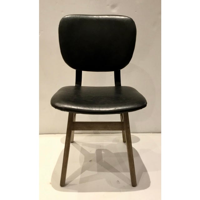Stylish Industrial Modern Black Faux Leather Side Chair/Desk Chair, cerused finished light wood base, metal accents,...