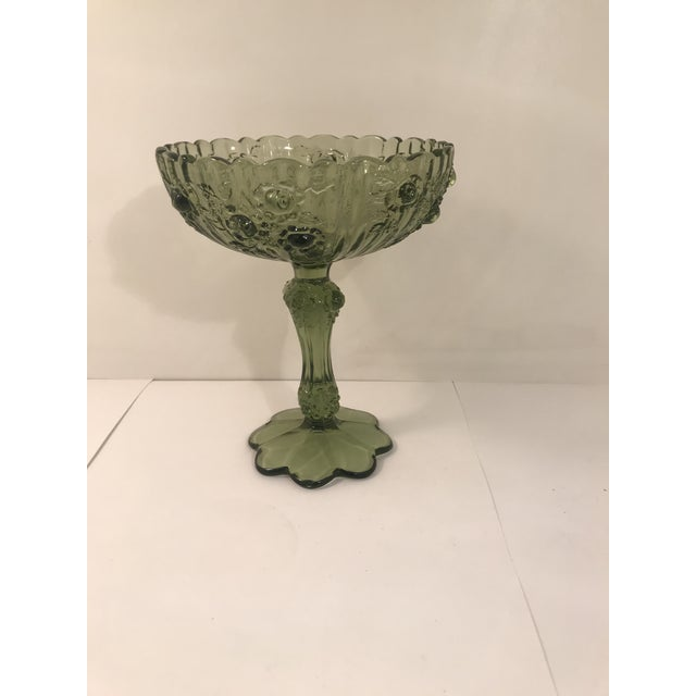 Fenton Cabbage Rose Colonial Green Glass Footed Candy Dish Compote For Sale In Sacramento - Image 6 of 6