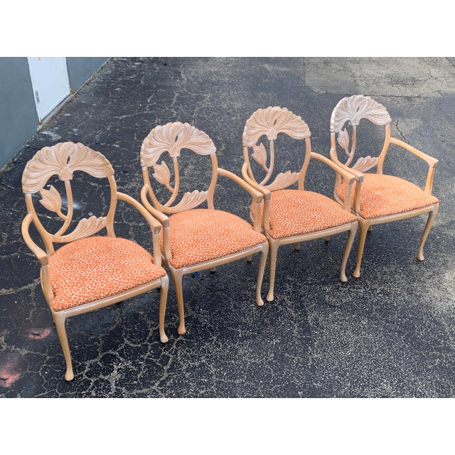 1970s Vintage Lime Wash Floral Carved Dining Chairs in the Manner of Phyllis Morris - Set of Four For Sale - Image 10 of 10