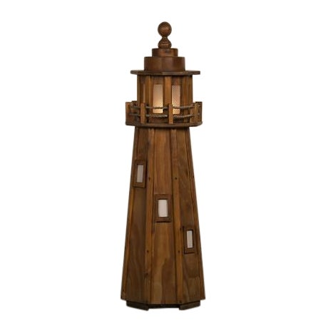 Vintage French Handmade Wood Lighthouse Floor Lamp circa 1950 For Sale