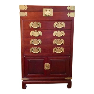 Chinoiserie Wooden Chest for Cutlery & Serving Pieces For Sale