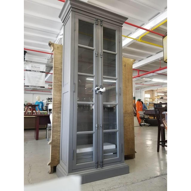 2010s French Restoration Hardware Casement Narrow Double Glass Door Cabinet in Distressed Grey For Sale - Image 5 of 8