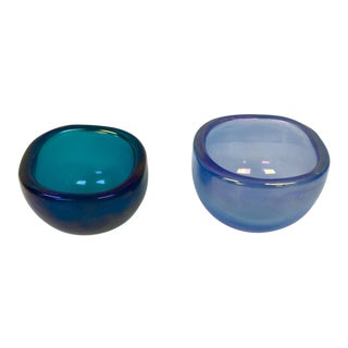 1950s Mid-Century Modern Venini Light and Dark Blue Glass Bowls - a Pair