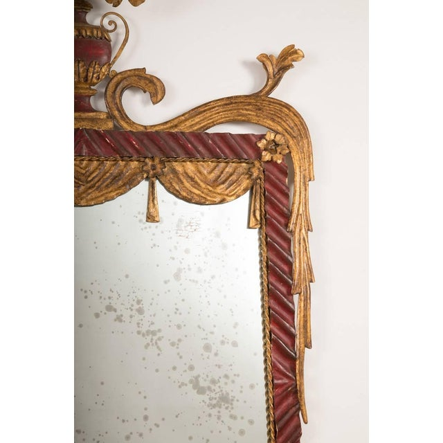 Dorothy Draper Style Red and Gilt Tole Mirror For Sale - Image 4 of 8