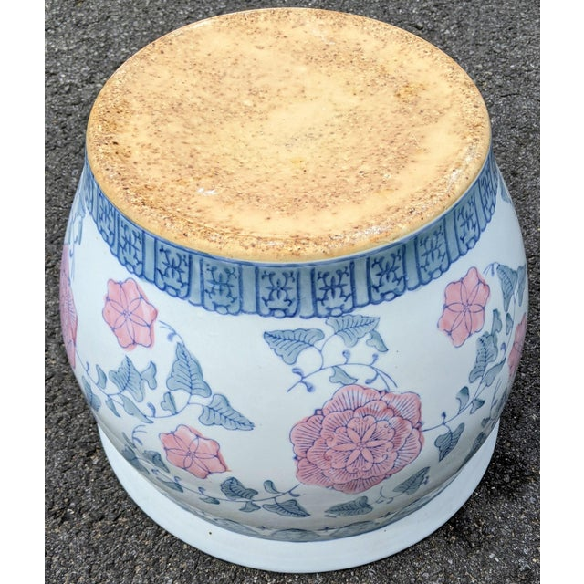 White 20th C Chinese Painted & Glazed Porcelain Roses Floral Fish Bowl Planter For Sale - Image 8 of 11