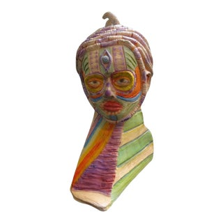 20th Century Boho Chic Clay Bust Sculpture For Sale