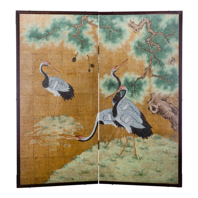 """Japanese Style 2-Panel """"Cranes at Rest"""" Hand-Painted Gold Foil Screen by Lawrence & Scott For Sale"""