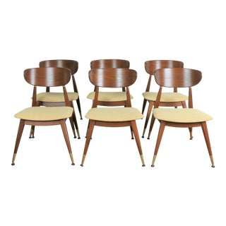 Mid Century Walnut Satin Finish Set of 6 Dining Chairs For Sale