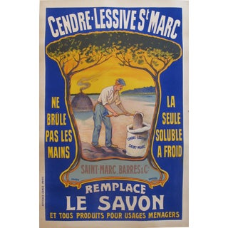 1920s French Farmhouse Poster, Cendre Lessive St-Marc Cleaner For Sale