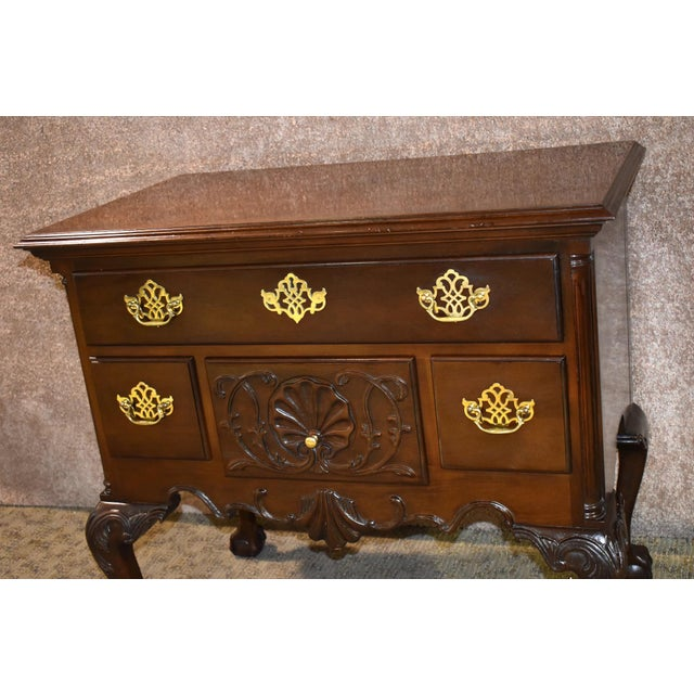 1970s Vintage Chippendale Councill Craftsmen Carved Mahogany Lowboy For Sale - Image 5 of 13