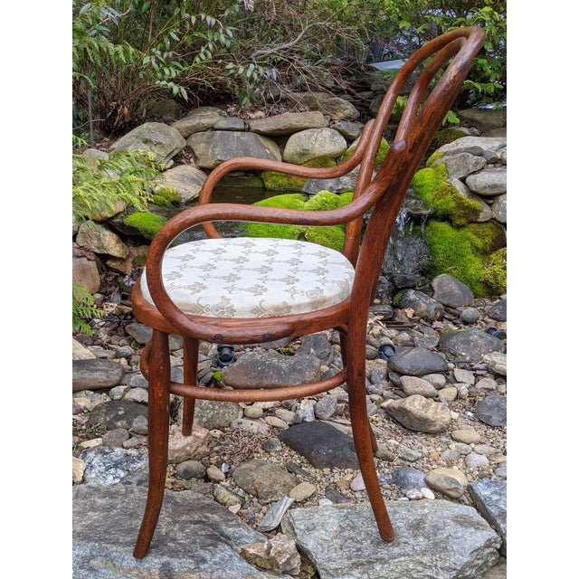 Wood Antique Signed/Marked Michael Thonet Bentwood Beech Bistro Captains Chair For Sale - Image 7 of 13