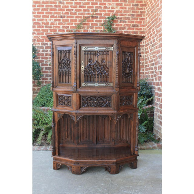 Antique French Gothic Vestry Sacristy Cabinet Oak 19th Century For Sale - Image 13 of 13