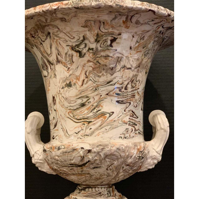 Large French Aptware/Mixed Earth Neoclassical Campana Urn For Sale - Image 4 of 12