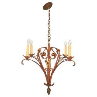 French '40s Hand-Wrought Iron 4 Light Chandelier For Sale