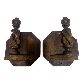 1920s Hand Carved Candle Wall Sconces - a Pair For Sale